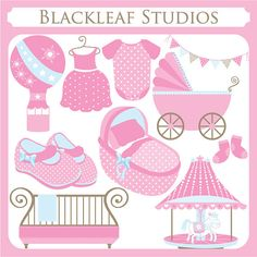 Baby Girl Things - baby shower, booties, crib, cot, pram, carousel - Personal and Commercial Use