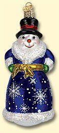 Old World Christmas Glistening Victorian Snowman Glass Ornament