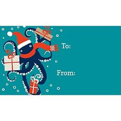 Embrace the gifts of the season with these festive Octopus gift tags. season, christma gift, octopus gift, christmas, holidays, gifts, papers, gift tags, octopuses