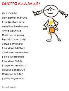 poesie sui diritti dei bambini Nursery Rhymes, Fairy Tales, Education, Learning, School, Pinocchio, Blog, Fantasy