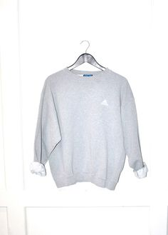 grey ADIDAS sweat shirt 90s adidas pull over by onefortynine