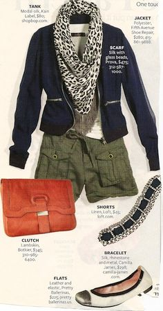 Navy blazer, green pants/shorts, printed scarf and orange accessories