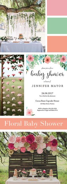 Floral Baby Shower Girl Theme by LittleSizzle. Floral Invitation Printable for your Baby Shower. Make the perfect announcement with this floral baby shower invitation. Easily personalize the invitation with your own words. Simply download, edit, print and trim!
