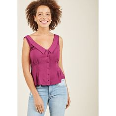 V-Neck Chelsea Collar Button-Up Top ($40) ❤ liked on Polyvore featuring tops, apparel, sleeveless woven, varies, woven top, v neck tank, retro tank tops, purple tank, purple sleeveless top and button up top