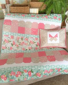 Lap quilt pattern from Carried Away Quilting (Easy Does It) features the Grandale collection by Keera Job for Riley Blake Designs. Lap Quilts, Mini Quilts, Quilt Blocks, Scrappy Quilts, Farm Quilt, Baby Girl Quilts, Girls Quilts, Quilt Baby, Lap Quilt Patterns