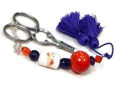 Scissor Fob Violet Purple Orange Scissor Minder by TJBdesigns