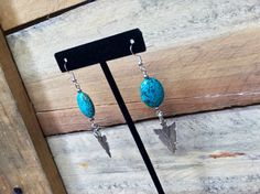 Arrowhead Earrings Turquoise Jewelry Silver and by TheBadaBling