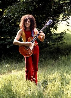"""Marc Bolan, T. Rex, by Barrie Wentzell. """"The 'Bopping Imp' as we used to call him in his acoustic days, becomes the 'Electric Warrior'. """"Marc calls me and says he's found the 'Love of my life, a. Marc Bolan, Glitter Beards, Glam Rock Bands, Children Of The Revolution, Red Overalls, Electric Warrior, Lady Stardust, Hampstead Heath, Classic Rock"""