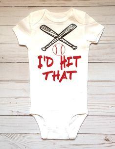 0c40edc5 Boys Baseball Onesie, I'd Hit That, Funny Boys Onesies, Boys Baby Shower  Gift, Onesies For Boys