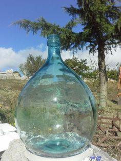 """17"""" Vintage Clear Blue Acqua Demijohn, Italian Light blue demijohn"""