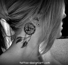 Dream catcher tattoo behind ear. I think I might get this for my great grandpa