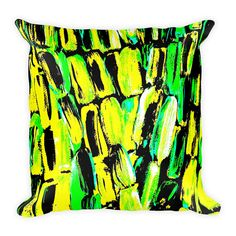 A pillow and cushion personal favorite from my Etsy shop https://www.etsy.com/listing/567155037/jamaica-green-yellow-black-square-pillow | Home Decor Art Fashion designs by @ANoelleJay @etsy