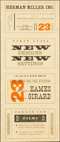 Graphic design by The Eames Office for a 1960s Herman Miller Showroom opening