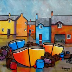 Colourful Houses and fishing boats on the quayside. Painted on Loxley Gold box canvas and framed in white wood. Ready to hang.