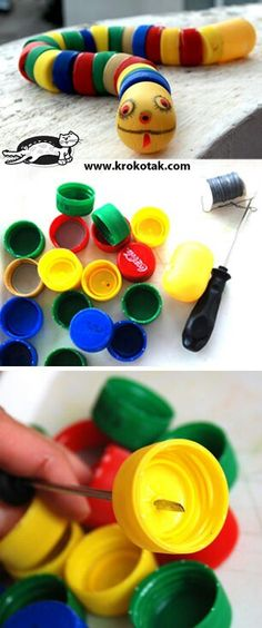 bottle cap snake - let kids thread bottle caps to create their own snake while practicing fine motor skills. Kids Crafts, Projects For Kids, Diy For Kids, Diy And Crafts, Plastic Bottle Crafts, Bottle Cap Crafts, Plastic Caps, Plastic Bottles, Bottle Cap Art