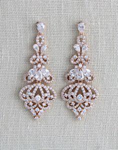 Rose Gold Earrings Bridal earrings Bridal jewelry by treasures570