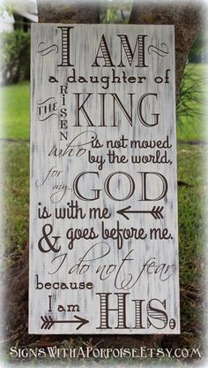 I Am His sign, Hand Painted Chalkboard Style Sign Distressed Wood, Typography Word Art, I am Daughter of King, Christian Sign (Favorite Words Christian)