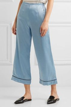 Staud - Pietro Cropped Satin Wide-leg Pants - Light blue