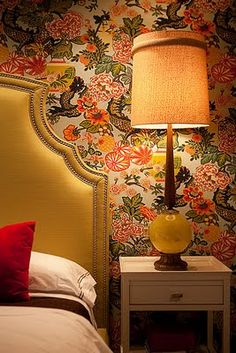Love the lamp and the wallpaper