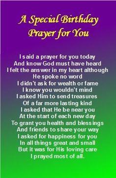 mother birthday prayer | ... Free birthday bookmark templates : A Special Birthday Prayer for You