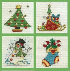 Set of 4 Mini Cross Stitch Kits (Tree, Sleigh, Snowman, Stocking) - only £10.00 on Past Impressions