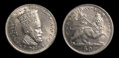 KM 31 Empire of Ethiopia 50 Matonas Depicting the Emperor Haile Selassie I