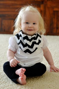 Baby Drool Scarf Bib Black And White Striped Jersey With