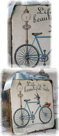 """Bycicle "" Vintage Shabby Country Cottage Chic style~Wall Decor Sign $16.89"