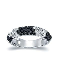 Auriya 14k Gold 3/4ct TDW and Black Diamonds Multi-Row Ring