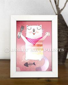 Bild KATZE - Kinderbild Bild Kinderzimmer Print Druck - ein Designerstück von JollyArtPrints bei DaWanda