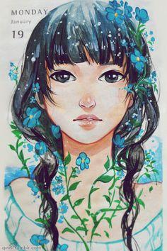 "qinni: ""Forget me not. Done in gouache. Illustrations, Illustration Art, Art Sketches, Art Drawings, Qinni, Manga Anime, Anime Art, Dibujos Tumblr A Color, Art Folder"