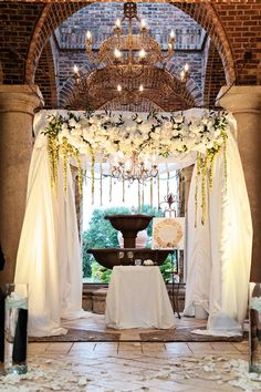 "Inside Weddings on Twitter: ""Draping, a chandelier, and ivory flowers for a perfect chuppah. http://t.co/sqnRv8aJD4 (Kristen Weaver Photography) http://t.co/PDcmS1lwYh"""