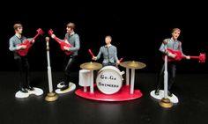 1960s Wilton Cake Toppers  Beatles  Go Go Swingers  Hard Plastic Figures Miniature Rock Band