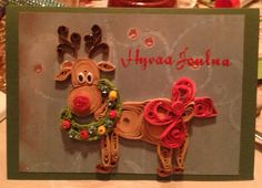Christmas card; reindeer by quilling
