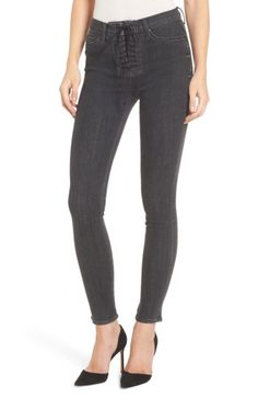 Hudson Jeans Bullocks High Waist Lace-Up Skinny Jeans (Disarm) Hudson Jeans, Super Skinny Jeans, Jeans Style, Stretch Fabric, Black Jeans, Lace Up, Nordstrom, Pants, Clothes