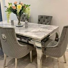 See Website For More Details Marble Dining Table Set, Grey Dining Tables, Luxury Dining Tables, Luxury Dining Room, Dinning Chairs, Dining Table Design, Dinning Room Sets, Decoration, Table Dimensions
