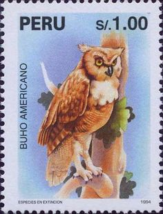 1994 Peru postage stamp with an owl on it.