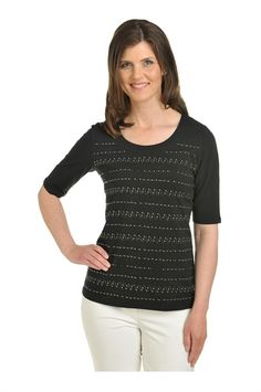 Tan Jay:  Knit Elbow Sleeve Scoop Neck with Embellishment
