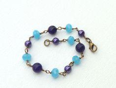 Plus Size Purple and Aqua Bracelet.. $18.00, via Etsy.