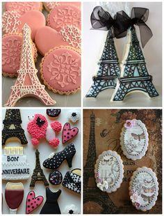 Biscoitos decorados superfofos para festa tema Paris para aniversário infantil
