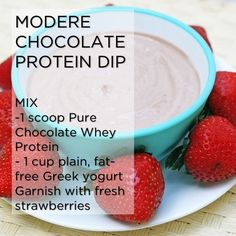 Looking for a healthy snack? Try Modere protein dip! You can make it chocolate flavored like the recipe above, or use Modere's vanilla or . Healthy Snacks, Healthy Eating, Healthy Recipes, Protein Recipes, Healthy Fruits, Eating Clean, Diabetic Recipes, Healthy Life, Chocolate Protein