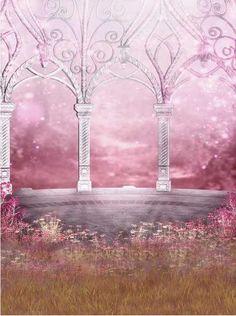 País de las maravillas de vinilo personalizado tela de color rosa jardín princesa castillo telones fotografía de la boda estudio fotográfico fondos retrato