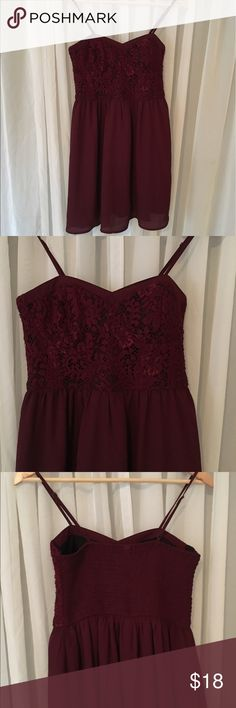 "Lacey-Bustier Style Dress Burgundy with a lacy top bustier style spaghetti strap dress. Dress measures about 15"" from under lace to bottom of hem. The back has elastic for added stretch. Xhilaration Dresses Mini"
