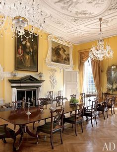 The Yellow Dining Room's ornate stuccowork dates from the 1730s | archdigest.com