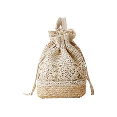 Crochet Backpacks Summer Straw Beach Bags Drawstring Floral Hollow Out Handmade Knitted Travel Bucket Design Women Sac A Dos L59