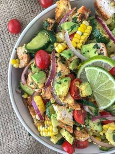 Cajun Lime Chicken Avocado Corn Salad | With Peanut Butter on Top