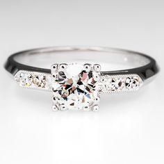 Conflict Free Antique Old Euro Diamond Engagement Ring Platinum