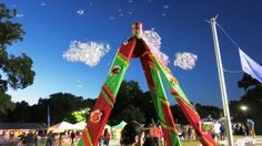 Solar powered with a battery back up, the BubbleYou® Bubble Tower -the world's biggest bubble toy® blows gobs of bubbles day and night ! The Cinco de Mayo th. Big Bubbles, World's Biggest, Fort Worth, Night Time, Solar Power, Selfies, Backdrops, Tower, Mexican