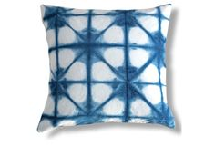 Shibori Constellation 26x26 Pillow, Blue