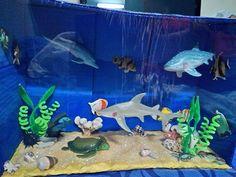 "My son's ""Ocean/Sea Animals"" Diorama"